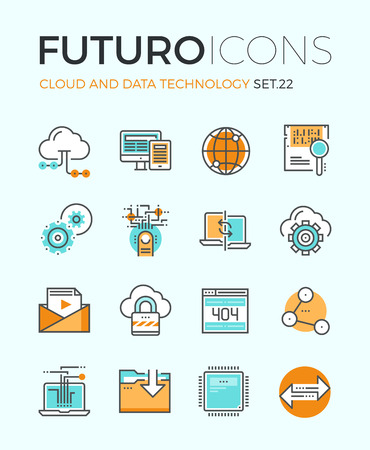 Line icons with flat design elements of cloud computing technology, big data analysis, global network connection, computer communication. Modern infographic vector logo pictogram collection concept. Vectores