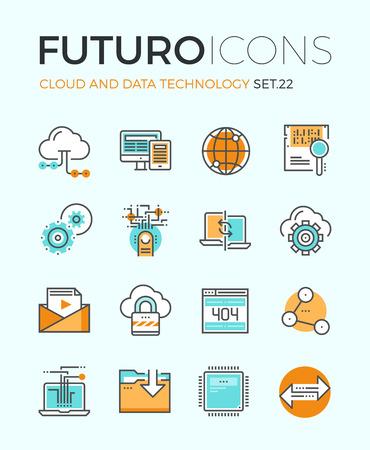 Lijn iconen met platte design elementen van cloud computing-technologie, big data-analyse, wereldwijde netwerk verbinding, computer communicatie. Modern infographic vector logo pictogram collectie concept.