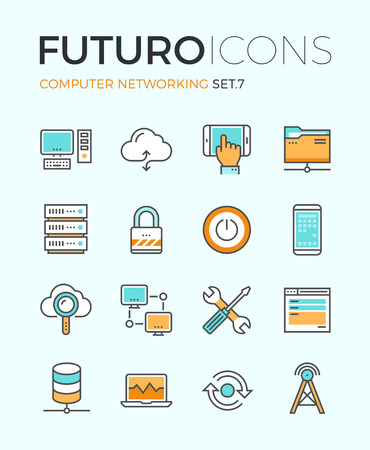 Line icons with flat design elements of computer network technology, cloud computing networking, server database, technical instruments. Modern infographic vector logo pictogram collection concept. Ilustração