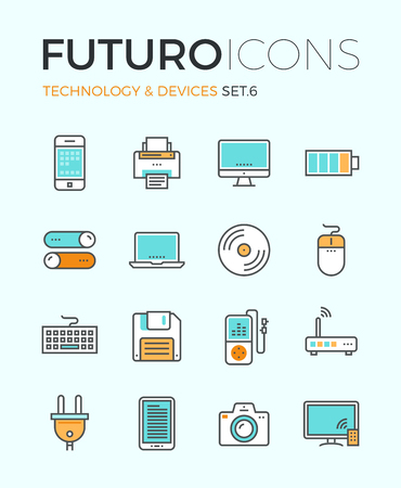 technology: 개인 전자 기기 및 멀티미디어 기기, 소비자 기술 개체, 가정 및 사무실 기기의 평면 디자인 요소 라인 아이콘. 현대 인포 그래픽 벡터 로고 그림 컬렉