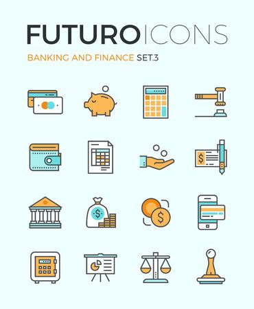 Línea iconos con elementos de diseño planas de ahorro de dinero y herramientas de finanzas, servicios bancarios, artículos de gestión financiera, contabilidad de las empresas. Concepto infografía moderna vector logo colección pictograma.