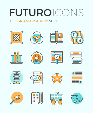 reviewing: Line icons with flat design elements of graphic design and web product development, UI and UX website making, AB testing usability project. Modern infographic vector logo pictogram collection concept.