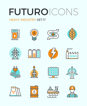 Line icons with flat design elements of power and energy heavy industry, factory production, oil extraction, renewable energy develop. Modern infographic vector logo pictogram collection concept.