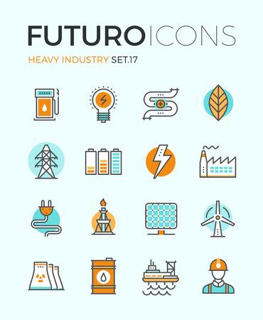 electricidad: Línea iconos con elementos de diseño planos de potencia y energía de la industria pesada, la producción de la fábrica, la extracción de petróleo, desarrollar energías renovables. Concepto infografía moderna vector logo colección pictograma. Vectores