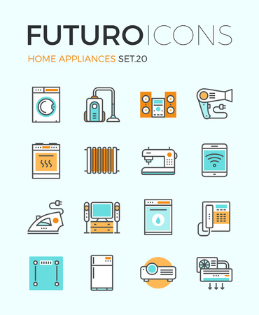 Line icons with flat design elements of major home appliances, consumer electronics devices, household goods for cooking and cleaning. Modern infographic vector logo pictogram collection concept. Vettoriali
