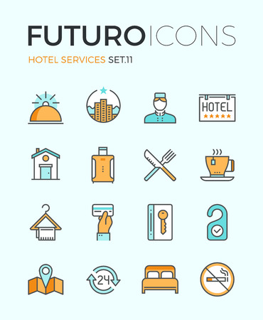 Line icons with flat design elements of major hotel service facilities, luxury resort accommodation, motel facility and hostel amenities. Modern infographic vector logo pictogram collection concept. Vettoriali