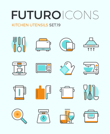 Line icons with flat design elements of kitchen utensils, glassware and cooking appliances, kitchenware for food preparation, cutlery tools. Modern infographic vector logo pictogram collection concept. Ilustração