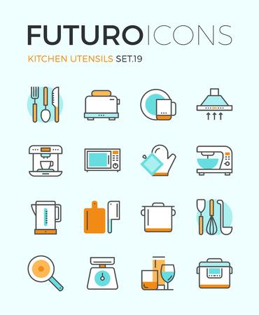 gospodarstwo domowe: Linia z ikon projektowania elementów płaskich, urządzeń kuchennych naczyń szklanych oraz do gotowania, naczynia kuchenne do przygotowywania posiłków, narzędzi sztućce. Nowoczesna kolekcja logo wektor infographic piktogram pojęcie.