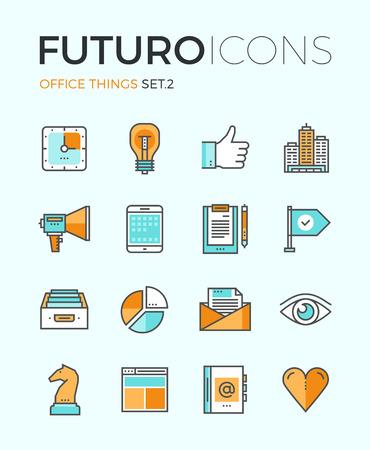 estrategia: L�nea iconos con elementos de dise�o de planos cosas de marketing y herramientas de negocio esenciales, equipo de oficina, personal de contabilidad rutina de trabajo. Concepto infograf�a moderna vector logo colecci�n pictograma. Vectores