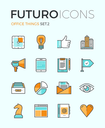 Line icons with flat design elements of marketing things and business essential tools, personal office equipment, work accounting routine. Modern infographic vector logo pictogram collection concept. Stock Illustratie