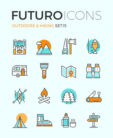 Line icons with flat design elements of camping equipment, hiking activity, outdoors adventure, mountain climbing, recreation tourism. Modern infographic vector logo pictogram collection concept. Ilustração