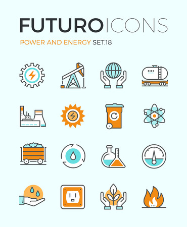environment: Line icons with flat design elements of power and energy production, electric industry, world ecology conservation, coal mining minerals. Modern infographic vector logo pictogram collection concept.