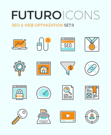 computer key: Line icons with flat design elements of search engine optimization, web SEO for traffic growth, rank result, keywording and link building. Modern infographic vector logo pictogram collection concept.