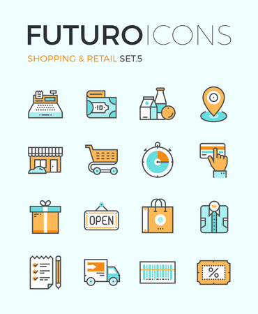 Line icons with flat design elements of market store goods, retail shopping activity, discount for products, consumer items for selling. Modern infographic vector logo pictogram collection concept.