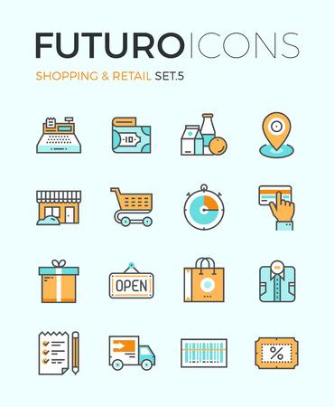 Lijn iconen met platte design elementen van de markt opslag van goederen, winkelcentra activiteit, korting voor producten, artikelen van de consument voor de verkoop. Modern infographic vector logo pictogram collectie concept.