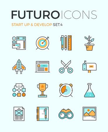 crecimiento: Línea iconos con elementos de diseño planas de inicio de negocios, nuevos productos a desarrollar, características principales agencias digitales, creativo workflow organización. Concepto infografía moderna vector logo colección pictograma.