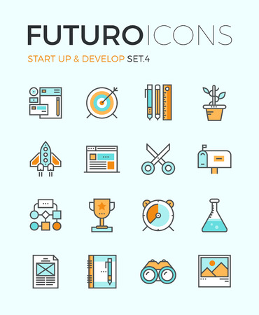develop: Line icons with flat design elements of business startup, new product develop, digital agency key features, creative organization workflow. Modern infographic vector logo pictogram collection concept.