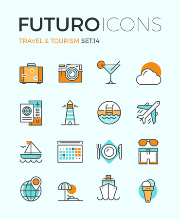 travel concept: Line icons with flat design elements of air travel to resort vacation, tour planning, recreational rest, holiday trip for leisure activity. Modern infographic vector logo pictogram collection concept.