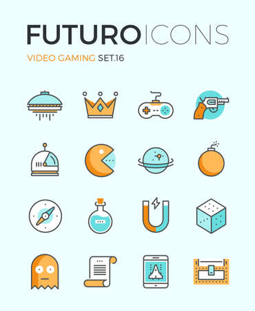 Line icons with flat design elements of video game objects, indie gaming develop, videogame items, gamepad console, resources gathering. Modern infographic vector logo pictogram collection concept. Illustration