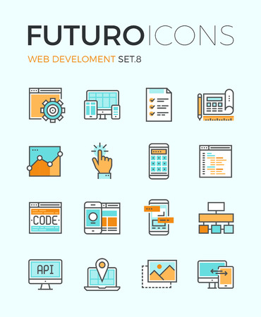 web pages: Line icons with flat design elements of responsive website development, web programming process, API interface coding, mobile app UI making. Modern infographic vector logo pictogram collection concept.