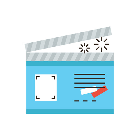 film shooting: Thin line icon with flat design element of clapper board cinema action, video production studio, make a film, movie shooting industry. Modern style logo vector illustration concept.