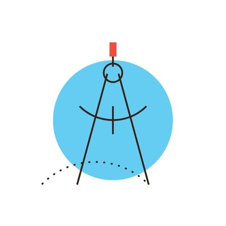compas de dibujo: Icono de l�nea delgada con elemento plano de dise�o de la arquitectura del comp�s, compases de dibujo geometr�a, proyecto de ingenier�a, redacci�n herramienta precisa. Moderno concepto de estilo de ilustraci�n. Vectores