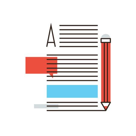 Dünne Linie Symbol mit flachen Design-Element der das Schreiben von Artikeln, Internet-Blogging, Textseite des Schriftstellers Blog, Medieninhalte, Text Nachrichten, Post info. Modernen Stil logo Vektor-Illustration Konzept.