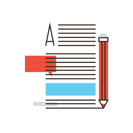 article writing: Thin line icon with flat design element of writing articles, internet blogging, text page of  writer blog, media content, copywriting news, post info. Modern style logo vector illustration concept.