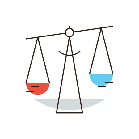 ley: Icono de línea delgada con elemento de diseño plano de básculas de balance, poder judicial independiente y de comparación, negocio jurídico, la ley estatal, zodiaco libra. Moderno concepto de estilo de ilustración.