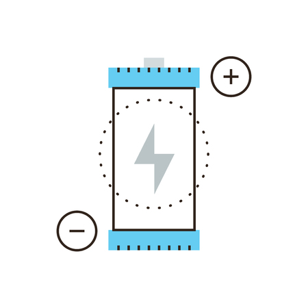 polarity: Thin line icon with flat design element of supply source, power voltage, charging battery, charge accumulator, renewable energy resource,. Modern style logo vector illustration concept.