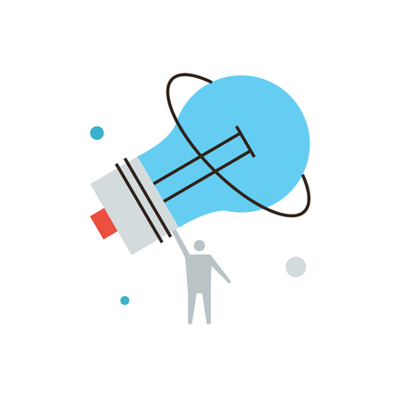 powerful creativity: Thin line icon with flat design element of powerful business innovation,  power of human thinking, fundamental invention, big idea, light bulb solution.  Illustration