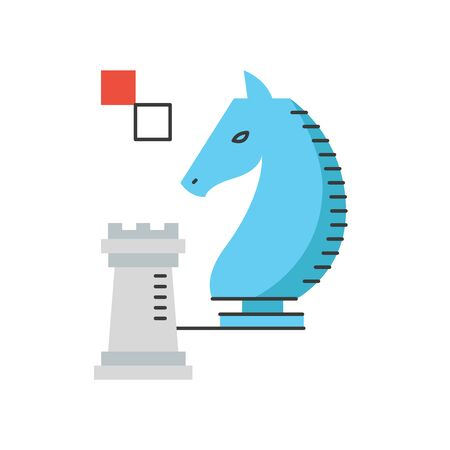 advantages: Thin line icon with flat design element of success chess strategy, business strategies and tactics, tactical advantage in game, winning solution. Modern style logo vector illustration concept.