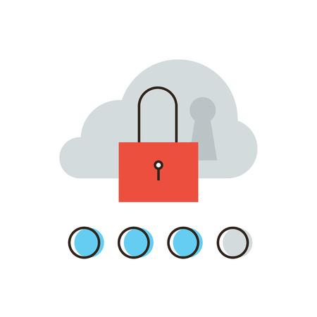 protected database: Icono de l�nea delgada con elemento plano de dise�o de la red de seguridad de la computaci�n en nube, acceso a Internet a la base de datos, hosting protecci�n del servidor, bloqueo de sistema inform�tico. Logotipo del estilo de ilustraci�n vectorial moderno concepto.