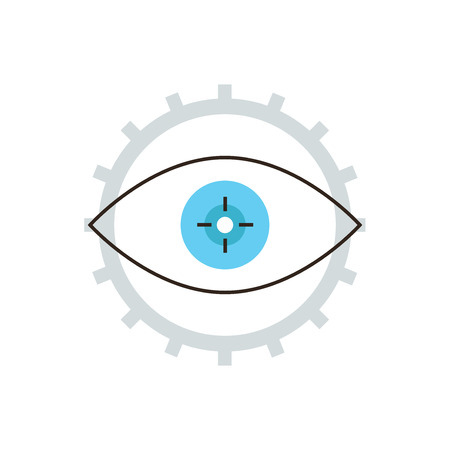 develop: Thin line icon with flat design element of engineering develop cogwheel, development process gear, business workflow vision, target work eye. Modern style  illustration concept.