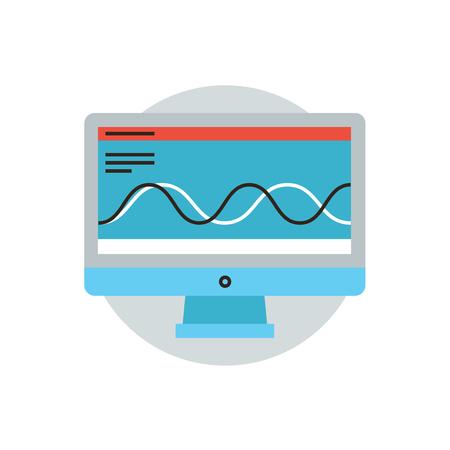 sistemas: Icono de línea delgada con elemento plano de diseño de análisis de grandes datos, procesamiento de software, sistema de pruebas, el seguimiento de software, proceso de análisis. Logotipo del estilo de ilustración vectorial moderno concepto.