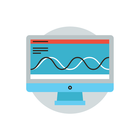 Thin line icon with flat design element of analysis big data, computer software processing, testing system, monitoring software, analyzing process. Modern style logo vector illustration concept.