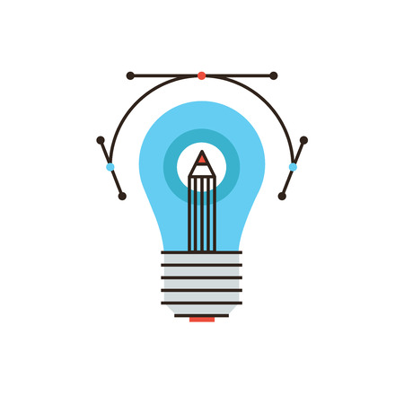 drawing instrument: Thin line icon with flat design element of creative drawing idea, graphic design instrument, creative sketch with drawing tool, firm lightbulb solution. Modern style logo vector illustration concept.