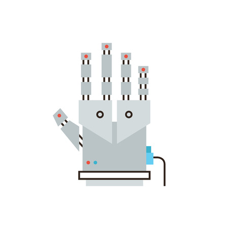tactile: Thin line icon with flat design element of cyber glove for virtual reality, innovative digital input device, robotic hand for entertainment technology. Modern style logo vector illustration concept.