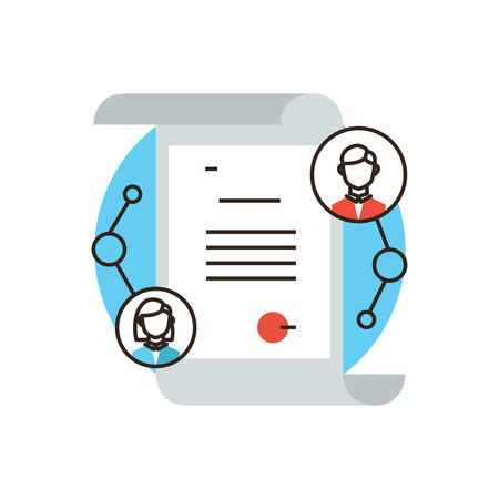 電子学科卒業、修士または学士号の証明書、学生のための大学の紙の文書のフラットなデザイン要素と細い線のアイコン。モダンなスタイルのロゴ