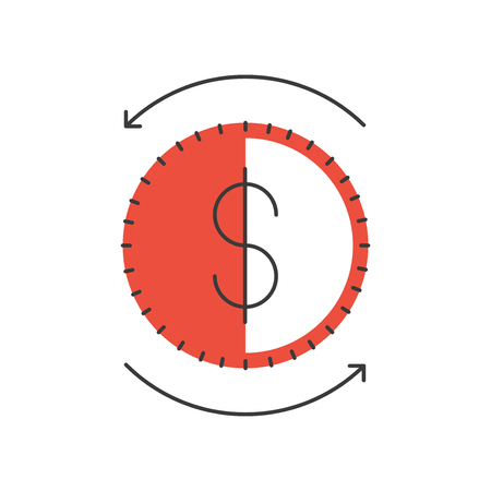 circulation: Thin line icon with flat design element of dollar coin, money circulation, financial turnover, business market, global stock exchange. Modern style logo vector illustration concept. Illustration