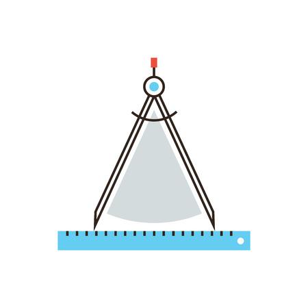 dibujo tecnico: Icono de línea delgada con elemento de diseño plano del calibre de dibujo brújula, instrumento técnico, obra del arquitecto, instrumento de ingeniería de medición. Logotipo del estilo de ilustración vectorial moderno concepto.