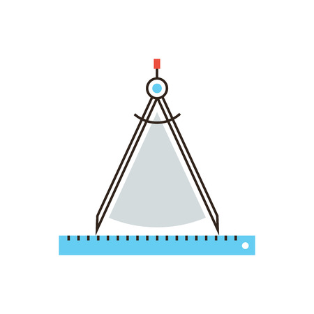 technical drawing: Thin line icon with flat design element of drawing compass gauge, technical tool, work of architect, engineering instrument of measurement. Modern style logo vector illustration concept.