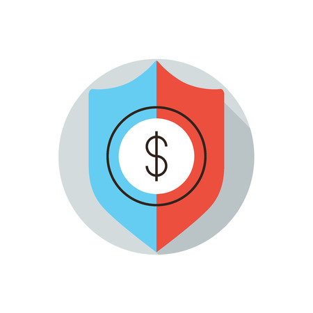 secure payment: Thin line icon with flat design element of financial security concept, money transfer secure payment, business insurance, protection shield for dollar. Modern style logo vector illustration concept.