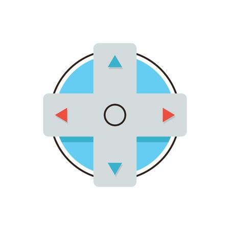 logo informatique: Thin icône de la ligne avec des plats élément de conception de boutons de gamepad, joystick de contrôle de la console, les flèches de direction de jeu, le jeu jeu d'ordinateur. Moderne logo de style illustration vectorielle concept.
