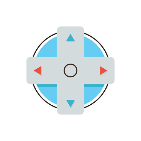 joystick: Thin line icon with flat design element of gamepad buttons, console joystick control, gaming direction arrows, play computer game. Modern style logo vector illustration concept. Illustration