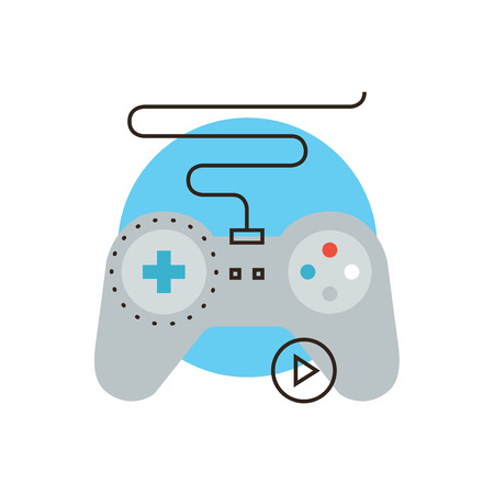 Thin line icon with flat design element of console gamepad, video gaming entertainment, game joystick, play game, device controller. Modern style logo vector illustration concept.