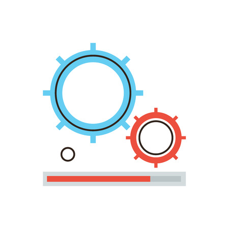 work: Thin line icon with flat design element of cog wheel gearing process, workflow operation status bar, gear system working indicator, cogwheel work. Modern style logo vector illustration concept.