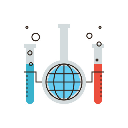 with liquids: Thin line icon with flat design element of global chemical reaction, science innovation in world of chemistry, laboratory tube and flask, mixing liquids. Modern style logo vector illustration concept.
