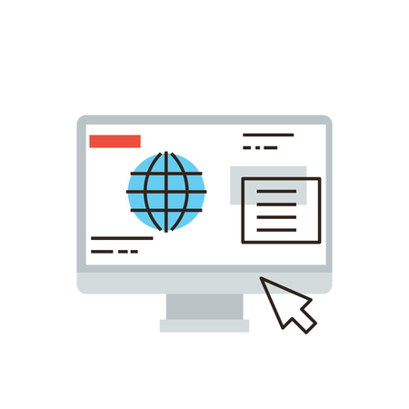 website window: Thin line icon with flat design element of internet business communication, website browser window interface, computer global network connection. Modern style logo vector illustration concept. Illustration