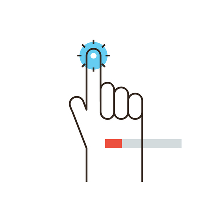 touch sensitive: Thin line icon with flat design element of hand touch screen process, clicking finger on a virtual display, touchscreen click gesture on sensitive screen. Modern style logo vector illustration concept. Illustration
